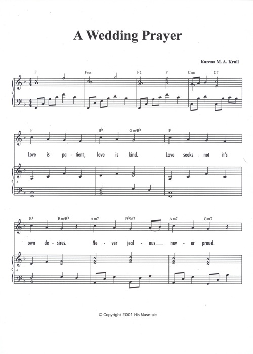 Christian Wedding Song A Wedding Prayer Sheet Music Sample